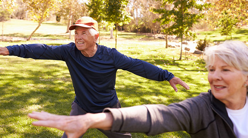 Pareja de ancianos practicando Tai chi en el parque.